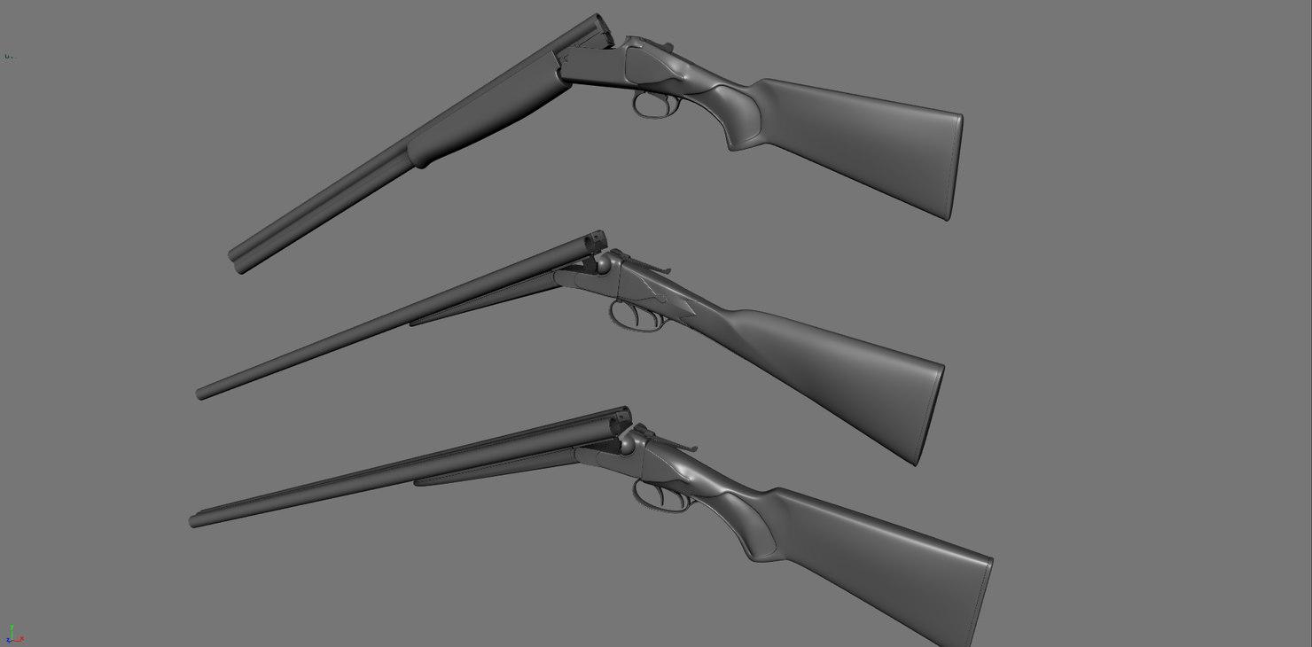end hunting rifles shotguns 3D
