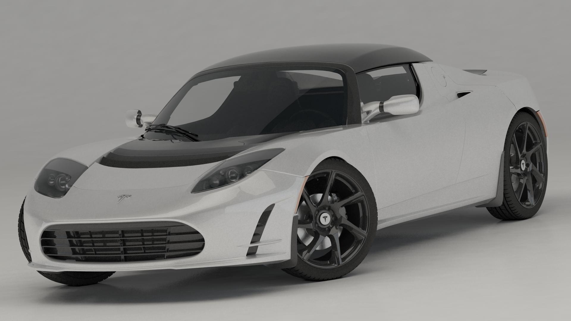 3D tesla roadster sport 2011