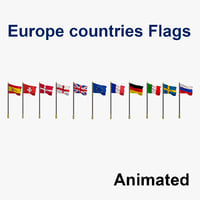 flags europe countries - 3D model