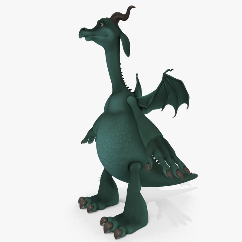 3D cartoon dragon goat model