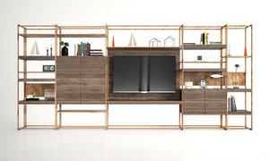 3D model bookshelf brass shelves