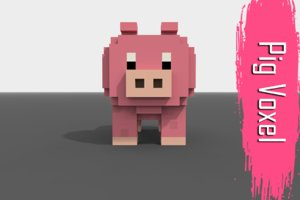 voxel pig low-poly 3D model