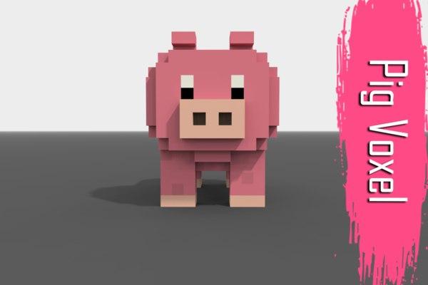 voxel pig low-poly 3D model