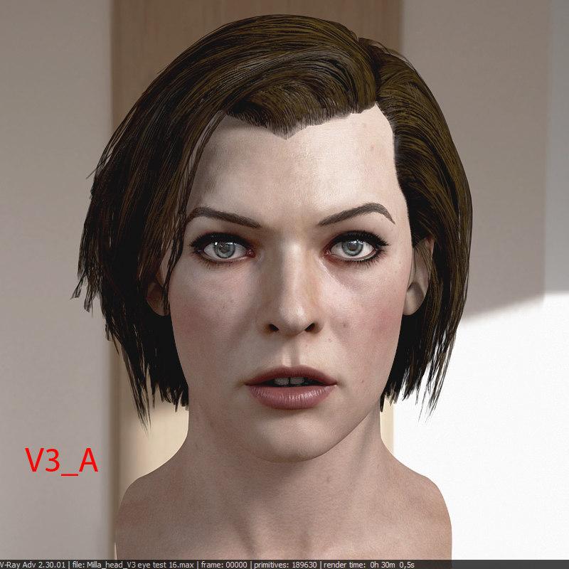 milla jovovich head v3 3D