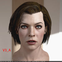 3d model Milla Jovovich head V3