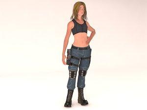 3D beautiful girl rig model