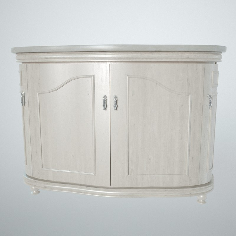 3D white wooden sideboard
