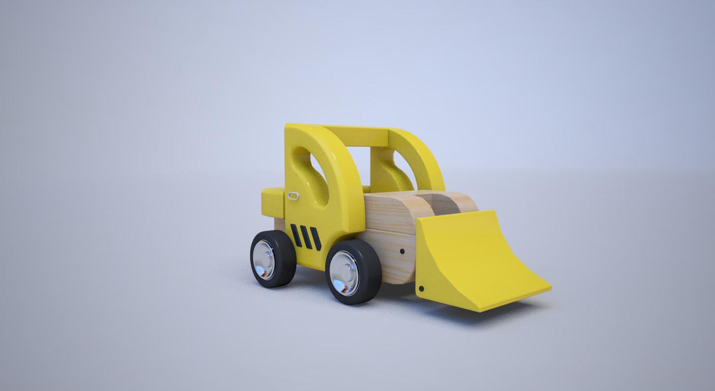 3D bulldozer toy wooden model