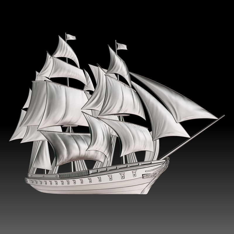 basrelief sailing ship cnc 3D