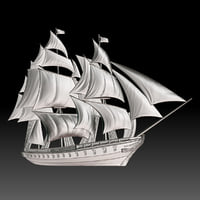 BasRelief Sailing Ship for 3D Print  CNC machines
