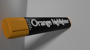 orange highlighter 3D model