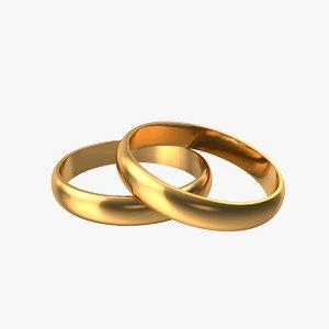 3D pair wedding rings model