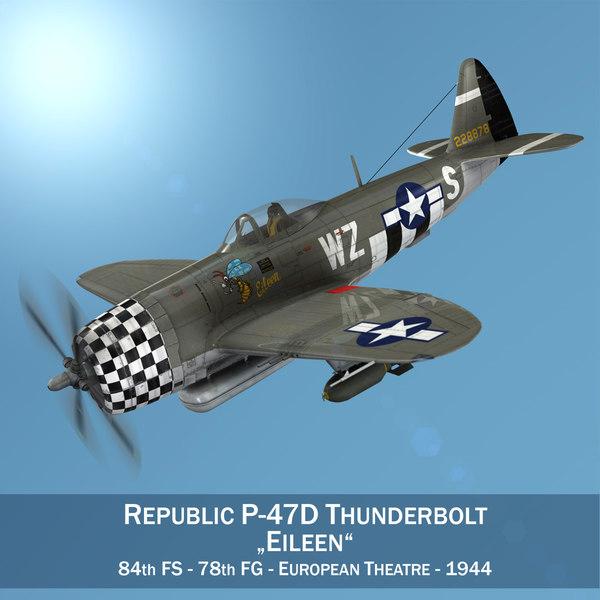 3D republic p-47d thunderbolt - model