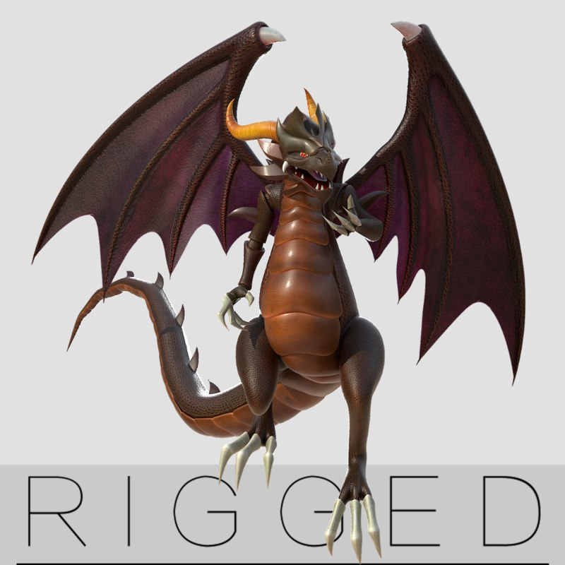 cattoon dragon wing rig 3D