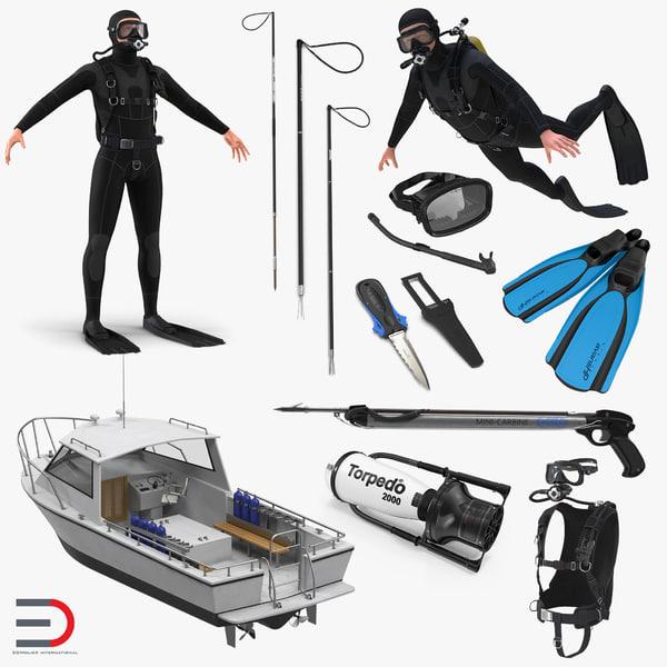 3D model diving boat underwater