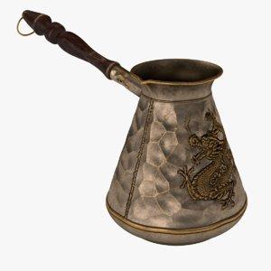 3D turkish coffee pot
