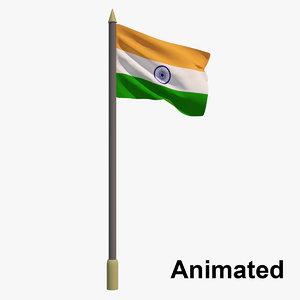 3D flag india - animation