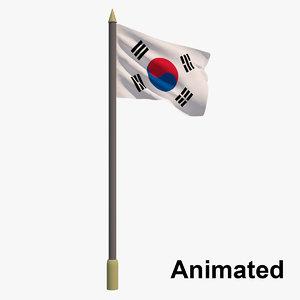 3D model flag south korea -