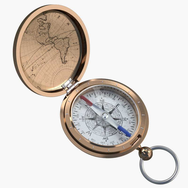 3D antique compass