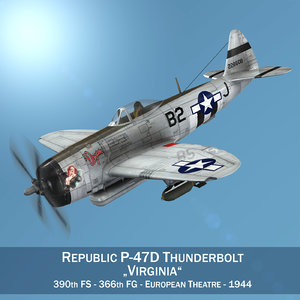 3D republic p-47d thunderbolt - model