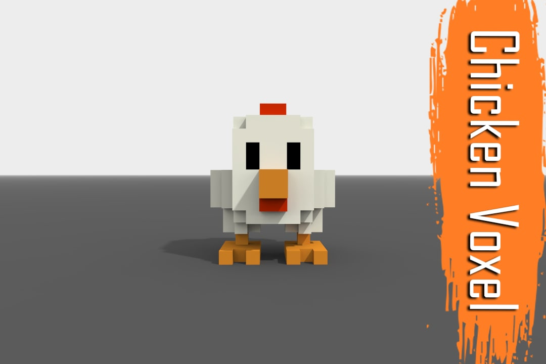3D voxel chicken low-poly