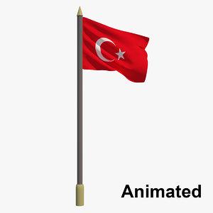 3D model flag turkey - animation