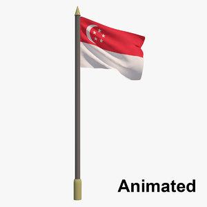3D flag singapore - animation model
