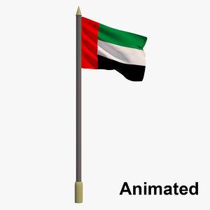3D flag united arab emirates model