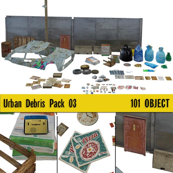 3D model urban debris pack 02