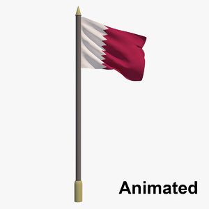 flag qatar - animation 3D model