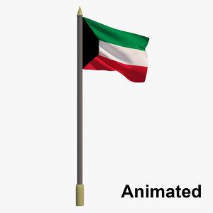 3D flag kuwait - animation