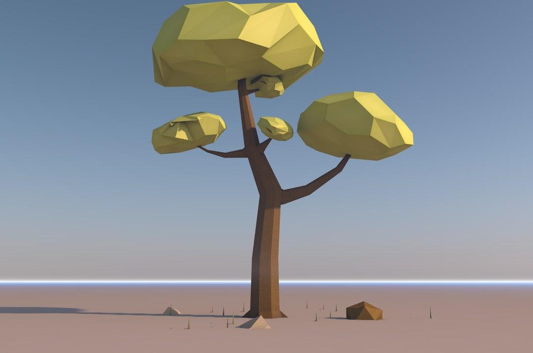 tree rocks grass 3D model