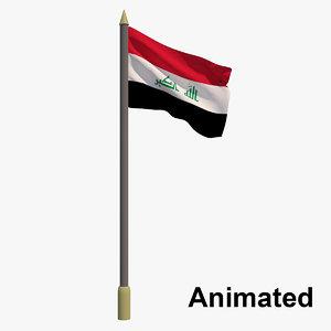 3D flag iraq - animation model