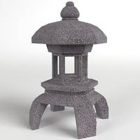 3D japanese toro lantern lamp