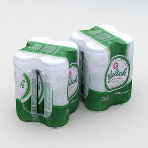 beer grolsch 4pack 3D