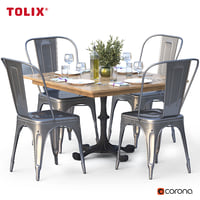 olive table chairs tolix 3D