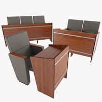 3D model auditorium chair desk