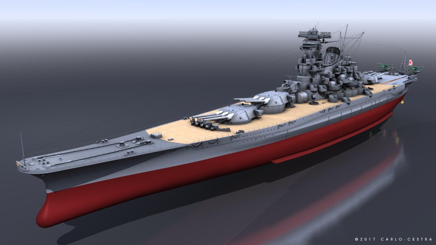 battleship musashi 3d model turbosquid 1190092