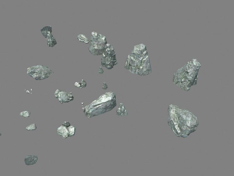 rock boulder 3D