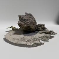 3D beach rock 2 model