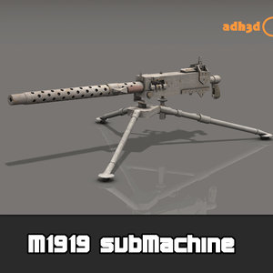 3D m1919 submachine model