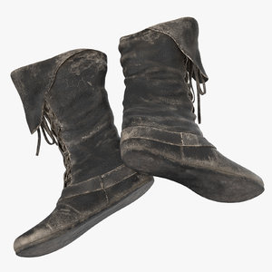 leather boots laying 3D