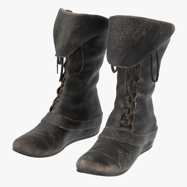 leather boots worn 3D model