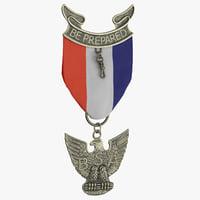 boy scout medal honor 3D model