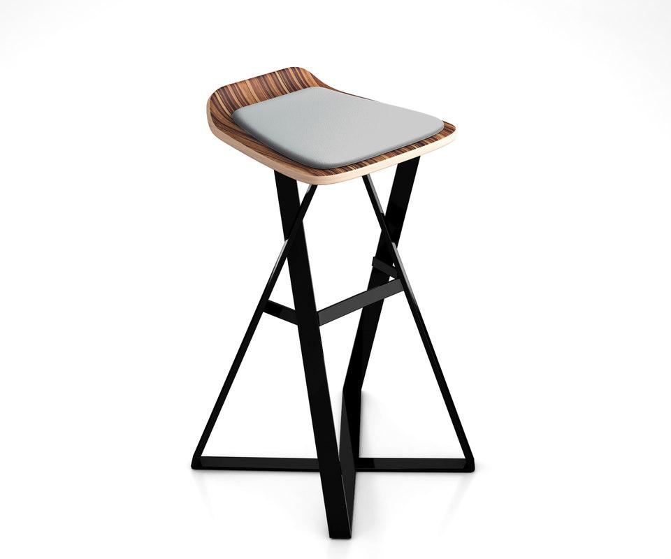 trestle bar stool 3D model