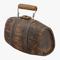 3D old rum keg model