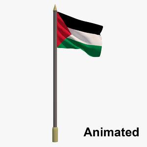 3D flag palestine - animation