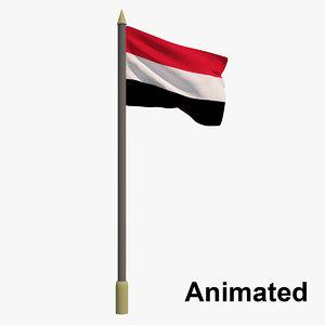 flag yemen - animation 3D model
