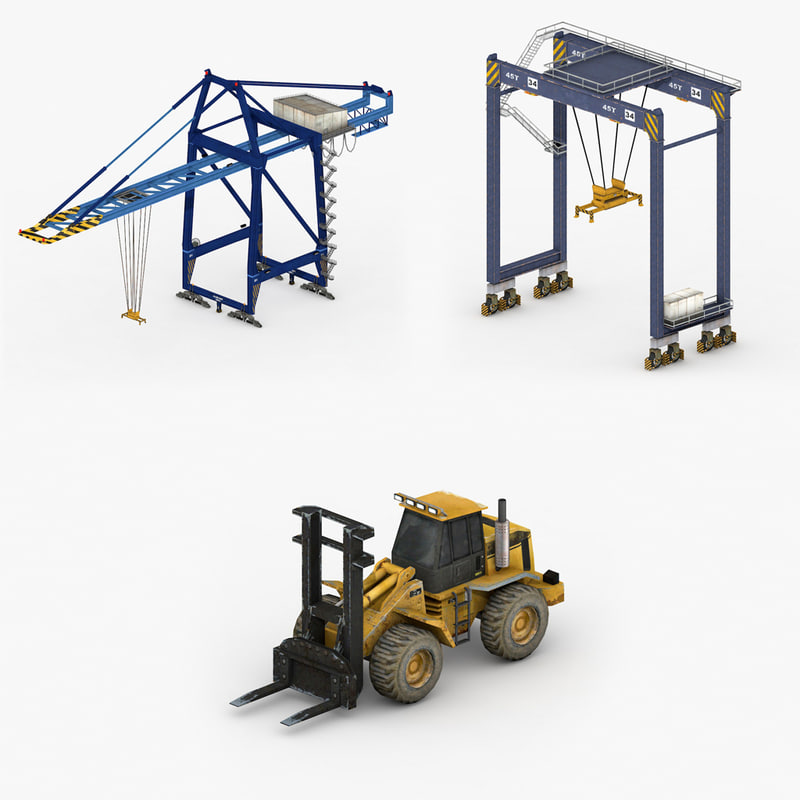 3D model dock vehicles pack industrial