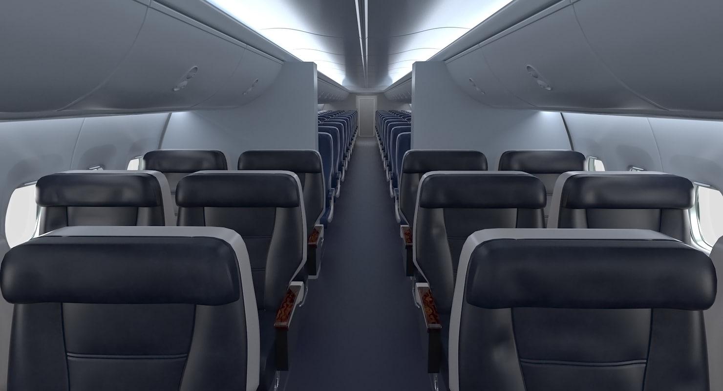 3D model boeing 737 passenger cabin